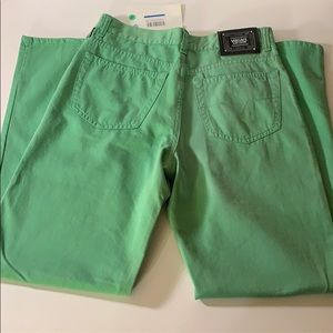Green Versace straight leg jeans 29W & 32L see pic